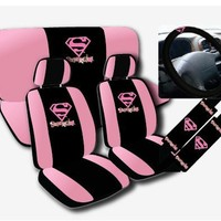 Warner Brothers Supergirl Seat Covers for Car SUV - Universal Fit Auto Accessories w/ Belt Pad & Steering Wheel Cover