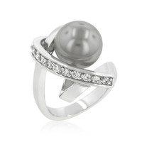 Silvertone Knotted Simulated Pearl Ring, size : 07