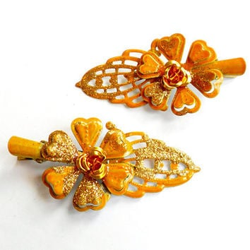 Vintage Enamel Flower Hair Clip Set - Orange Yellow Gold - Alligator Clip - Hair Barrette - Pair of Clips - Glitter Sparkle