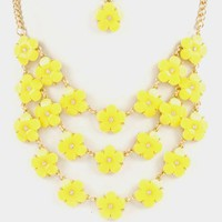 Flower Power Statement Necklace Set