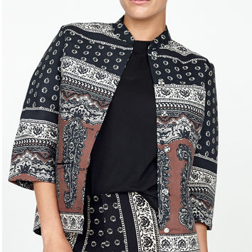 madly jacket black daisy paisley