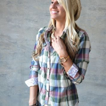 Small Town Plaid Top - Green & Burgundy