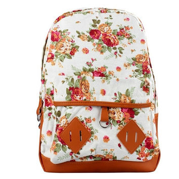 Students Backpack Travel Oversize Flower Printed Canvas Book Satchel Shoulder Bag for Teenagers = 1714514564