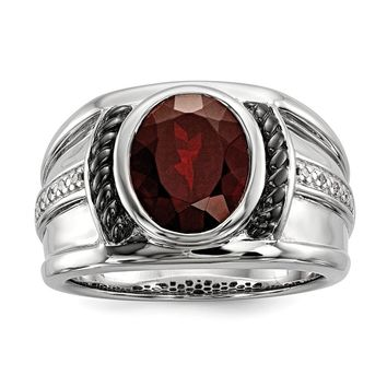 Mens Two Tone Sterling Silver, Oval Garnet & Diamond Wide Tapered Ring