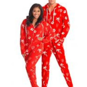 Tiki Nights Adult Footed Onesuits Pajamas