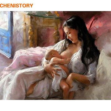 CHENISTORY People DIY Painting By Numbers Paint On Canvas Kits Acrylic Painting Motherly Love For Home Wall Art Picture Artwork