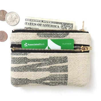 Wallet Coin Purse Double Zipper Pouch Recycled Grain Sack