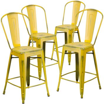 4 Pk. 24'' High Distressed Metal Indoor-Outdoor Counter Height Stool with Back