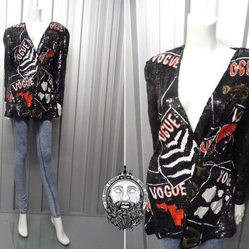 Vintage 80s VOGUE Sequin Jacket Silk Blazer Black Trophy Jacket Heavily Beaded Glam Rock Sequence Jacket Magazine Print Avant Garde Crazy