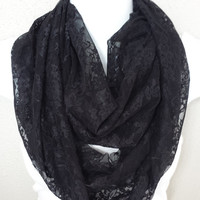 Black Lace Infinity Scarf Floral Scarf Fashion Spring Circle Scarf Black Eternity Loop Accessories Spring Scarf Lace Scarf