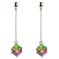 Colorful Cube Long Earrings