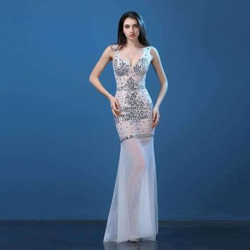 Plus Size Lace Long Dress Rhinestone Nightclub Dresses Clairvoyant Women Slim Fish Tail Sexy Long Train V-Neck Design Party Wear