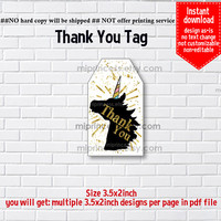 Instant Download, #1066 gold unicorn, little girl Party, Thank you TAG, 3.5x2inch printable, non-editable NOT CUSTOMIZABLE