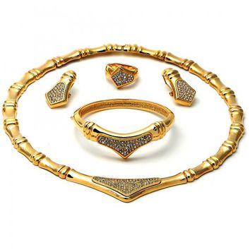Gold Layered 06.59.0008 Necklace, Bracelet, Earring and Ring, with  Micro Pave, Golden Tone