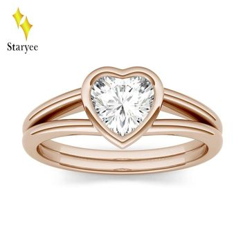 Certified 1.0ct 5.5mm Heart Moissanite Solitaire Engagement Ring in Real 14K Rose Gold Lab Diamond Set Anniversary Fine Jewelry