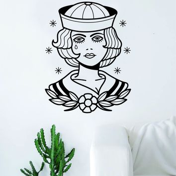 Traditional Sailor Pin Up Girl Tattoo Decal Sticker Wall Vinyl Art Home Decor Beautiful Living Room Bedroom