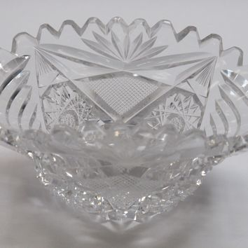ABP cut glass oval dish Auction