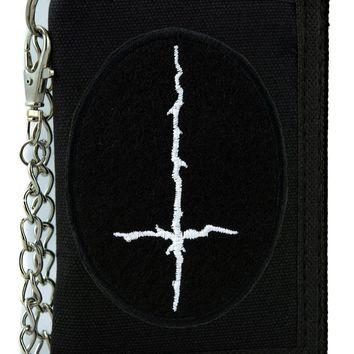 White Thorn Jagged Inverted Cross Tri-fold Wallet with Chain Occult Clothing