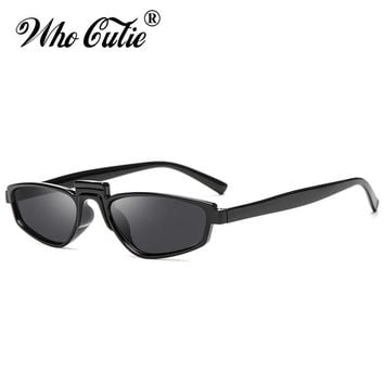 WHO CUTIE 2018 Geometric Futuristic 90S Sunglasses Women Vintage Celebrity Rihanna Brand Designer Small Sun Glasses OM563