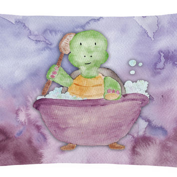 Turtle Bathing Watercolor Canvas Fabric Decorative Pillow BB7344PW1216