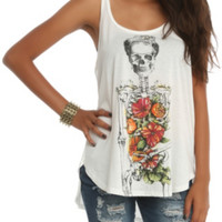 Floral Skeleton Hi-Lo Tank Top