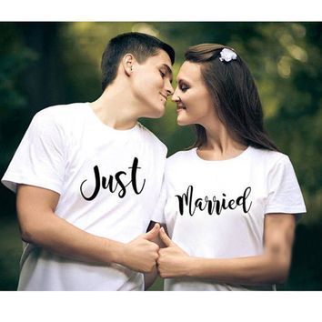T Shirt COUPLE Clothes Tops Plus Size Cotton Tshirt Just Married Lovely T-shirt Honey Moon Valentines Wedding Gift for Friend