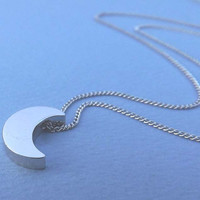 crescent moon necklace- silver necklace-vintage style