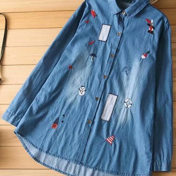 Cartoon Embroidered Denim Shirts