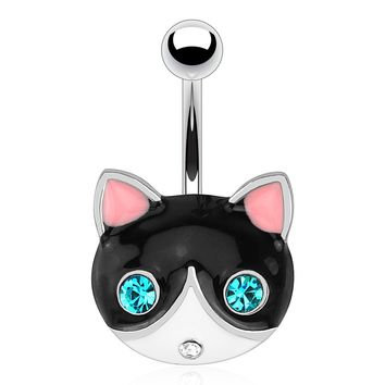 Black Cat with C.Z. Eyes Belly Ring 14G (1.6mm)