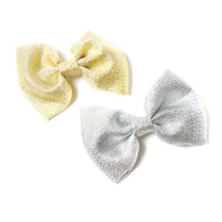 Silver and Gold Lamé Bow Hair Clips Set of 2