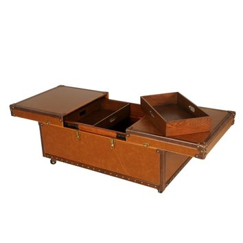 Waldorf Storage Trunk Coffee Table BURNISHED BROWN
