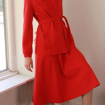 70s Red Belted Skirt Suit / M