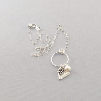 Sterling Silver With Sterling Silver Swirl Heart And White Freshwater Pearl Necklace