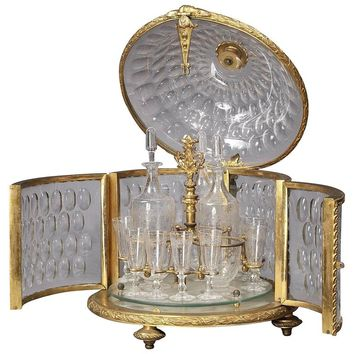 Round Crystal and Gilt-Bronze Liqueur Cabinet by Baccarat. French, circa 1880.