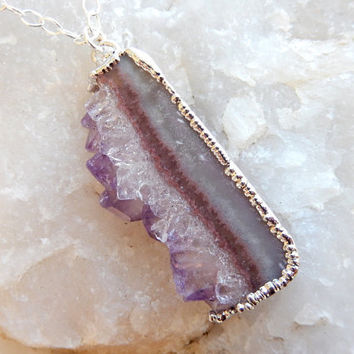Amethyst Druzy Slice Necklace Drusy Crystal Quartz Agate Pendant Jewelry in Silver- Free Shipping