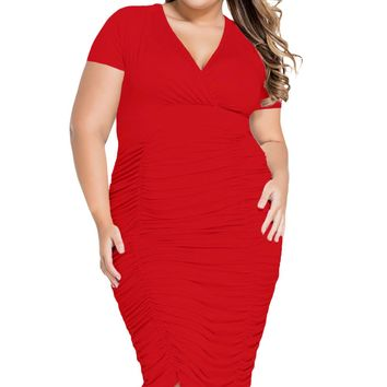 Red Pleated Curvaceous Midi Dress