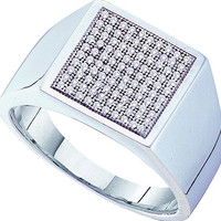 Diamond Micro Pave Mens Ring in 10k White Gold 0.35 ctw