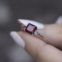 BETROTHAL. Ruby Silver Ring – REGALROSE