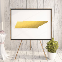Tennessee Map State Gold Foil Painting Poster Print USA United States Modern Abstract Landscape Art Black White Usa Map Print LANDSCAPE ART