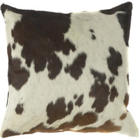Beige and Black Cowhide Pillow