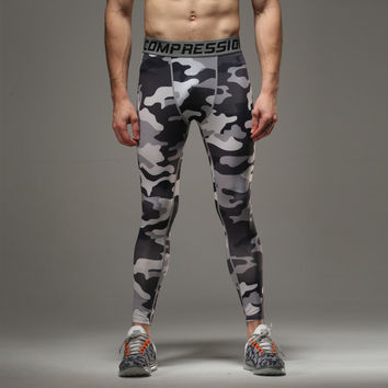 2016 New Fashion Camouflage Men Compression Spring Autumn Tights Print Pants Bodybuilding Casual Trousers Skinny Leggings Y500