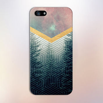 Geometric Woods x Gold Chevron Watercolor Phone Case for iPhone 6 6 Plus iPhone 5 5s 5c 4 4s Samsung Galaxy s6 s5 s4 & s3 and Note 5 4 3 2
