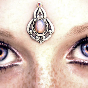 Psyche Bindi, fantasy jewelry, tribal fusion, fairy, opal, wicca, pagan, goddess, skin accessory, bellydance costume, gypsy, magic, elven