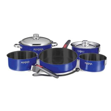 Magma Nestable 10 Piece Teflon Stainless Steel Cookware - Cobalt Blue