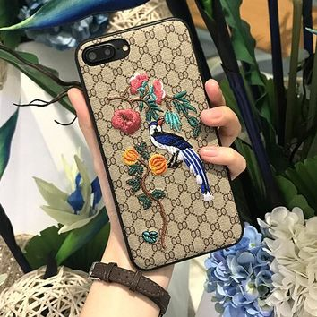 Fashion Magpie Print Embroidery iPhone Cover Case For iphone 6 6s 6plus 6s iphone 7 7plus