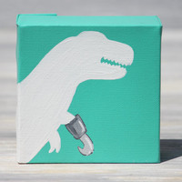 "T-Rex Painting, Pirate Dinosaur Art / 4"" x 4"" Canvas, More Colors Available"
