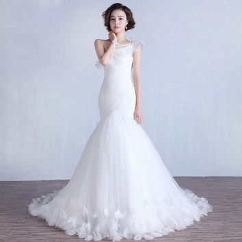 New Arrival Ruched Organza Mermaid Wedding Dress Lace Up White/Ivory Marry Dresses Bridal Dresses Hot Sale Fast Shipping