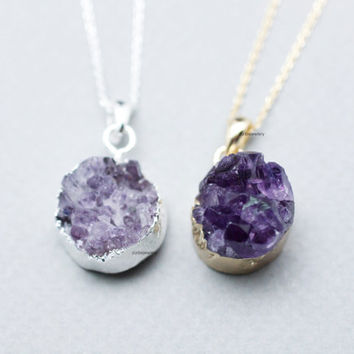 Round Amethyst Druzy Pendant Necklace ,Crystal Necklace,Natural Raw,Chunky Stone Gemstone, in 2 colors, N0749G