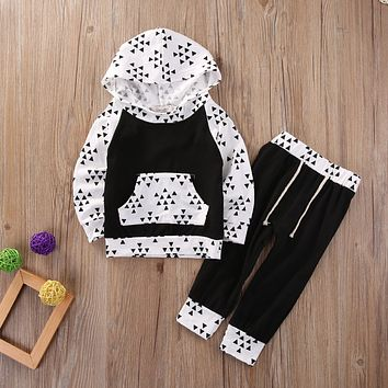 2016 2Pcs Newborn Infant Baby Boy Girl Xmas New Clothes Tops Hoody Pants Outfits Set clothing sets