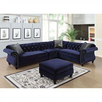 Furniture of america CM6158BL 4 pc jolanda ii collection blue fabric sectional sofa with nail head trim accents